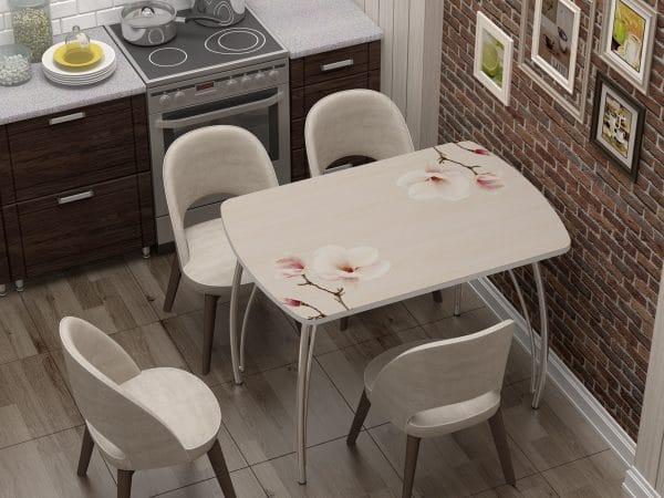 Стол нераздвижной стеклянный Бочонок с фотопечатью Нежность фото | интернет-магазин Складно