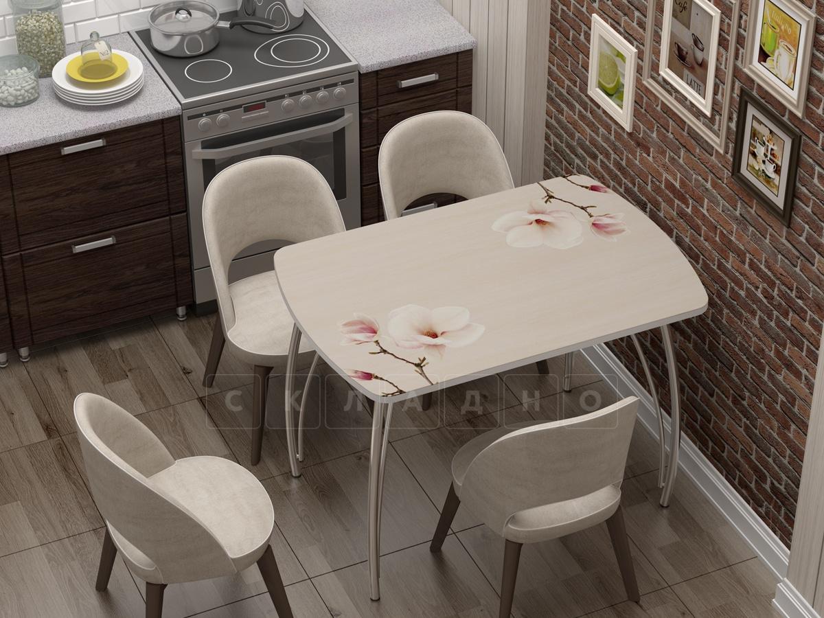 Стол нераздвижной стеклянный Бочонок с фотопечатью Нежность фото 1 | интернет-магазин Складно