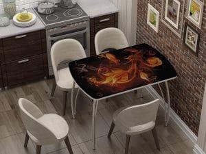 Стол нераздвижной стеклянный Бочонок с фотопечатью Огненный цветок-10937 фото | интернет-магазин Складно