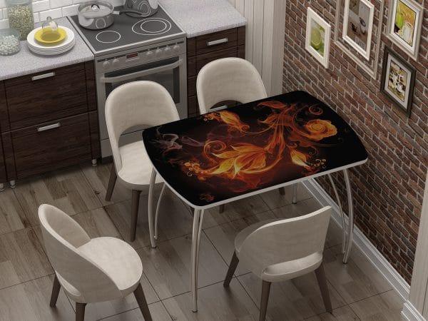 Стол нераздвижной стеклянный Бочонок с фотопечатью Огненный цветок фото | интернет-магазин Складно