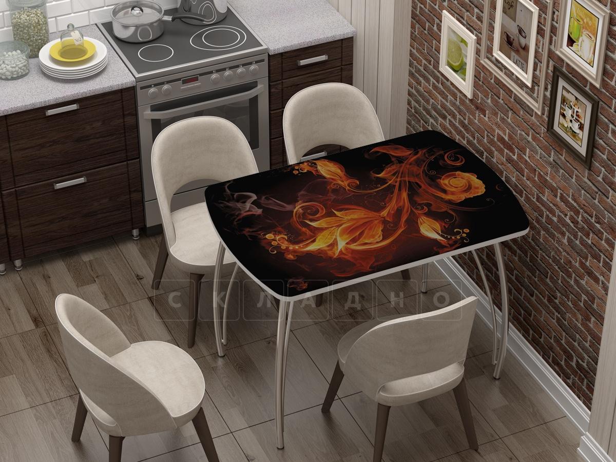 Стол нераздвижной Бочонок с фотопечатью Огненный цветок фото 1 | интернет-магазин Складно