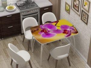 Стол нераздвижной стеклянный Бочонок с фотопечатью Орхидея-10932 фото | интернет-магазин Складно