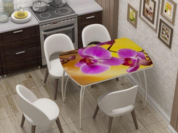Стол нераздвижной стеклянный Бочонок с фотопечатью Орхидея фото | интернет-магазин Складно