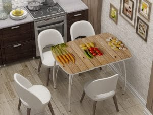Стол нераздвижной стеклянный Бочонок с фотопечатью Овощи-10930 фото | интернет-магазин Складно
