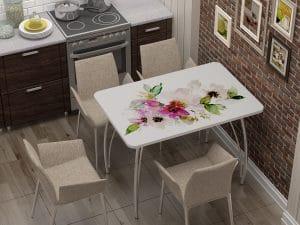 Стол нераздвижной стеклянный с фотопечатью Акварель-10895 фото | интернет-магазин Складно