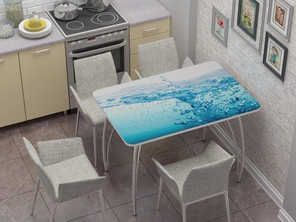Стол нераздвижной стеклянный с фотопечатью Брызги фото | интернет-магазин Складно