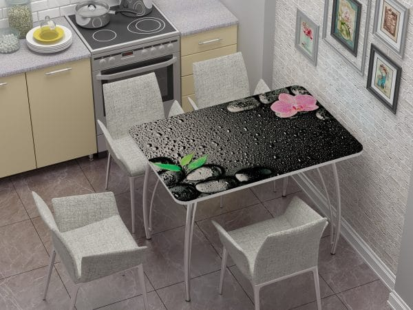 Стол нераздвижной стеклянный с фотопечатью Гармония фото | интернет-магазин Складно