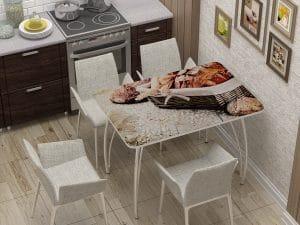 Стол нераздвижной с фотопечатью Хлеб-10851 фото | интернет-магазин Складно