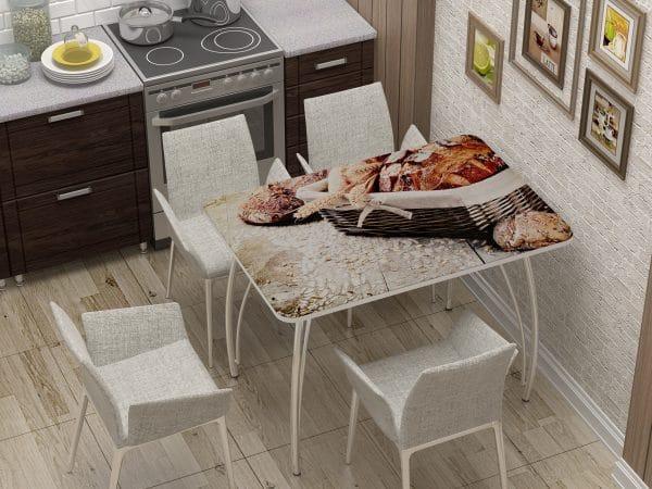 Стол нераздвижной стеклянный с фотопечатью Хлеб фото | интернет-магазин Складно