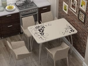Стол нераздвижной стеклянный с фотопечатью Индиго-10889 фото | интернет-магазин Складно