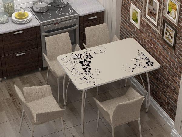 Стол нераздвижной стеклянный с фотопечатью Индиго фото | интернет-магазин Складно