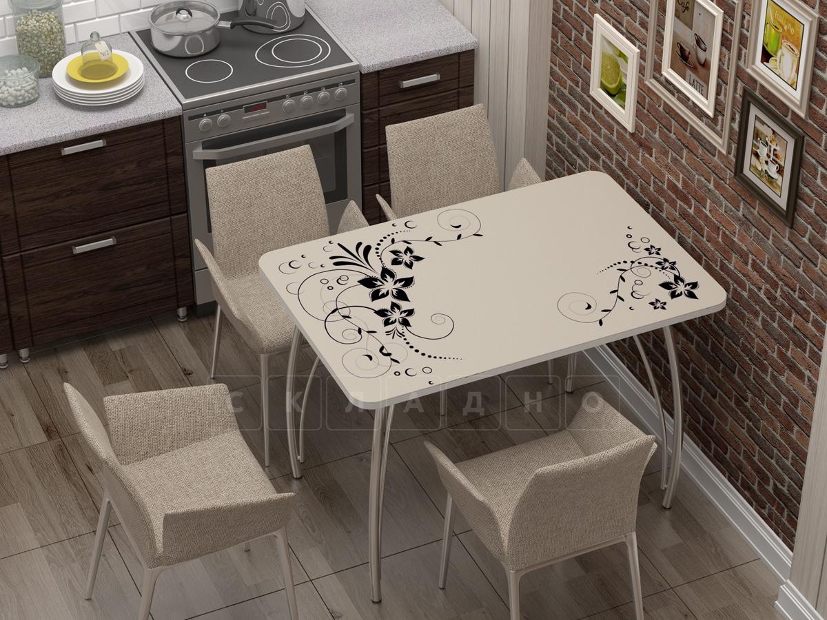 Стол нераздвижной стеклянный с фотопечатью Индиго фото 1 | интернет-магазин Складно