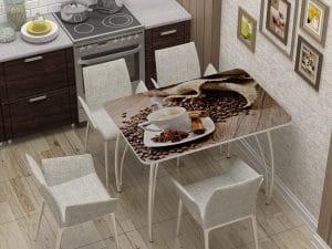 Стол нераздвижной с фотопечатью Кофе-10859 фото | интернет-магазин Складно