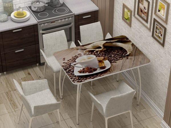 Стол нераздвижной стеклянный с фотопечатью Кофе фото | интернет-магазин Складно