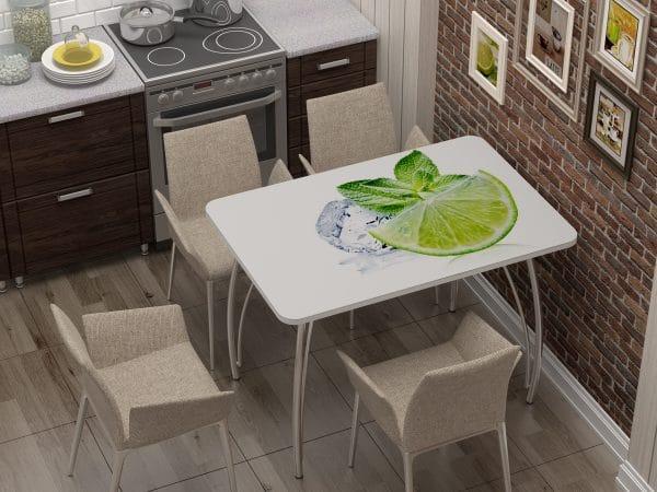 Стол нераздвижной стеклянный с фотопечатью Лайм фото | интернет-магазин Складно
