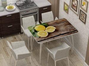 Стол нераздвижной стеклянный с фотопечатью Лимон-10887 фото | интернет-магазин Складно