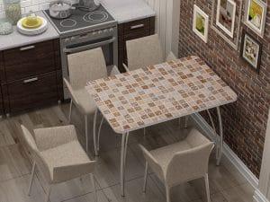 Стол нераздвижной стеклянный с фотопечатью Мозайка-10886 фото | интернет-магазин Складно