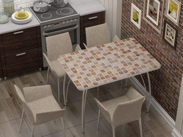 Стол нераздвижной стеклянный с фотопечатью Мозайка фото | интернет-магазин Складно