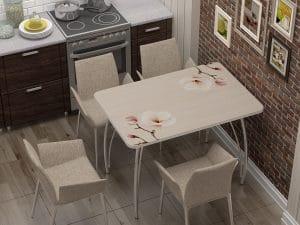 Стол нераздвижной стеклянный с фотопечатью Нежность-10885 фото | интернет-магазин Складно
