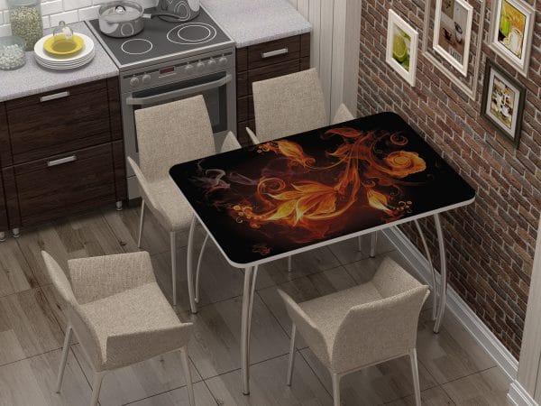 Стол нераздвижной стеклянный с фотопечатью Огненный цветок фото | интернет-магазин Складно
