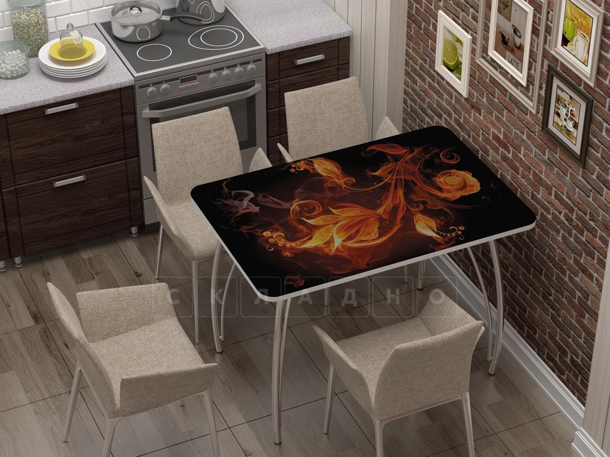 Стол нераздвижной с фотопечатью Огненный цветок фото 1 | интернет-магазин Складно