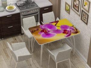 Стол нераздвижной стеклянный с фотопечатью Орхидея-10880 фото | интернет-магазин Складно