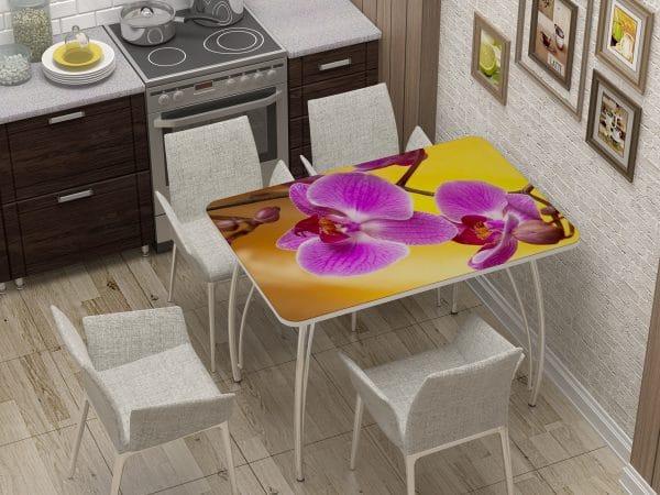 Стол нераздвижной стеклянный с фотопечатью Орхидея фото | интернет-магазин Складно