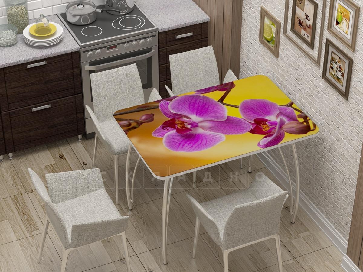 Стол нераздвижной стеклянный с фотопечатью Орхидея фото 1 | интернет-магазин Складно
