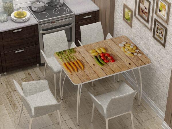 Стол нераздвижной стеклянный с фотопечатью Овощи фото | интернет-магазин Складно