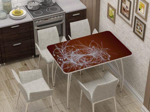 Стол нераздвижной стеклянный с фотопечатью Светящиеся нити фото | интернет-магазин Складно