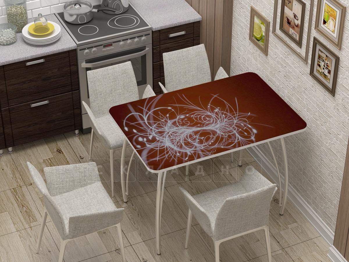 Стол нераздвижной стеклянный с фотопечатью Светящиеся нити фото 1 | интернет-магазин Складно