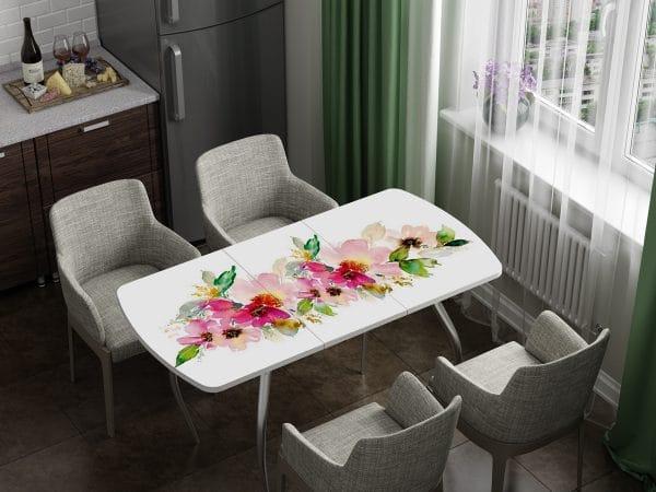 Стол раздвижной стеклянный с фотопечатью Акварель фото | интернет-магазин Складно