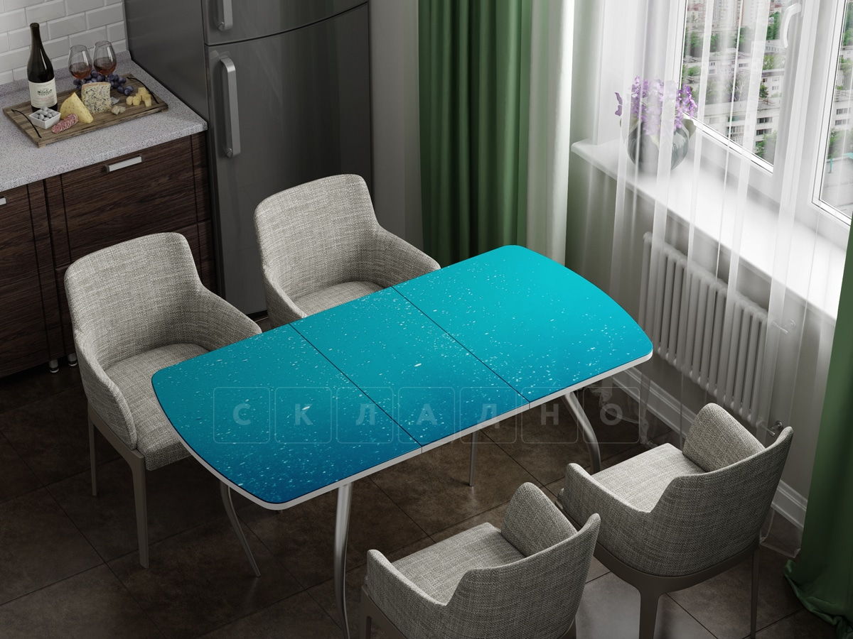 Стол раздвижной стеклянный с фотопечатью Бриз фото 1 | интернет-магазин Складно