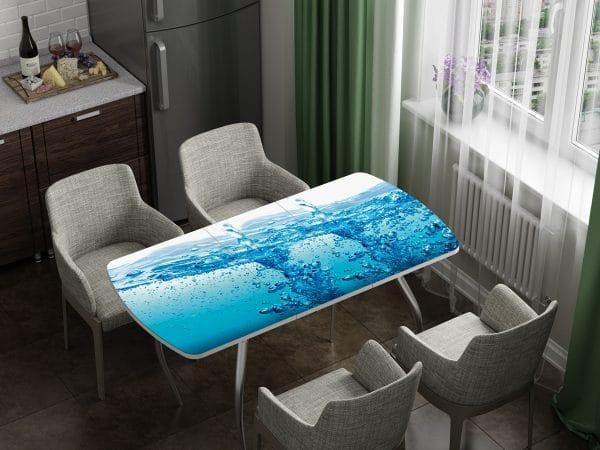 Стол раздвижной стеклянный с фотопечатью Брызги фото | интернет-магазин Складно