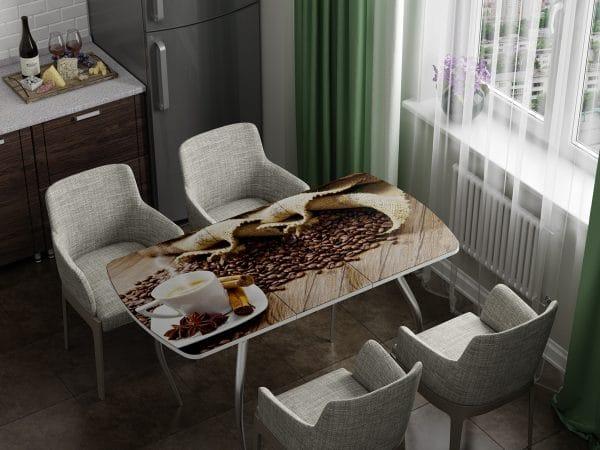 Стол раздвижной стеклянный с фотопечатью Кофе фото | интернет-магазин Складно