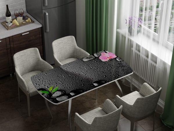 Стол раздвижной стеклянный с фотопечатью Гармония фото | интернет-магазин Складно