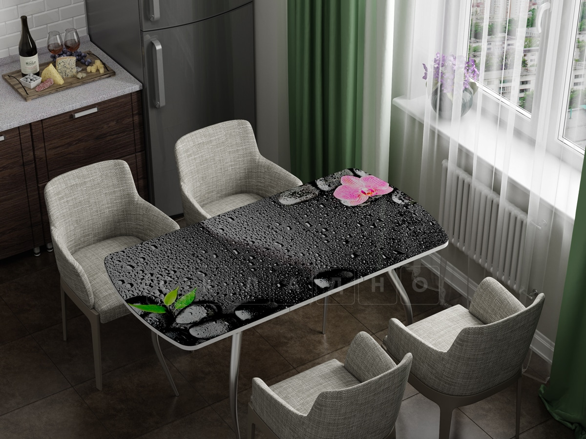 Стол раздвижной стеклянный с фотопечатью Гармония фото 1 | интернет-магазин Складно
