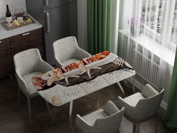 Стол раздвижной стеклянный с фотопечатью Хлеб фото | интернет-магазин Складно