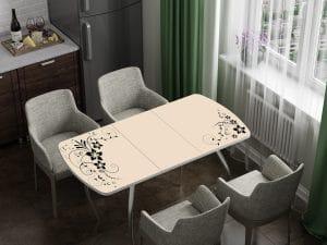 Стол раздвижной стеклянный с фотопечатью Индиго-10947 фото | интернет-магазин Складно