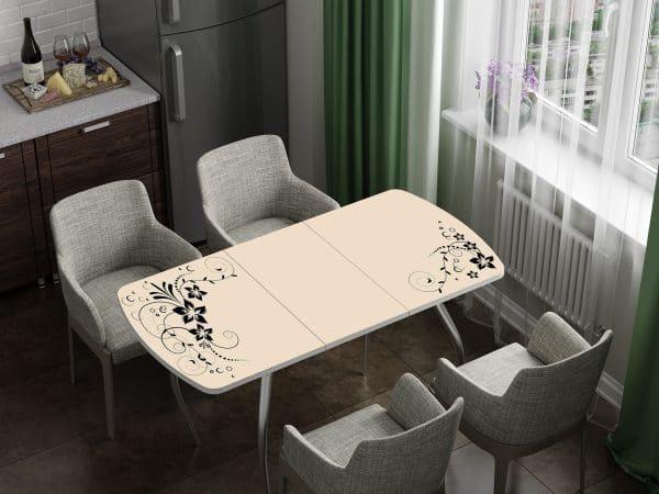 Стол раздвижной стеклянный с фотопечатью Индиго фото | интернет-магазин Складно