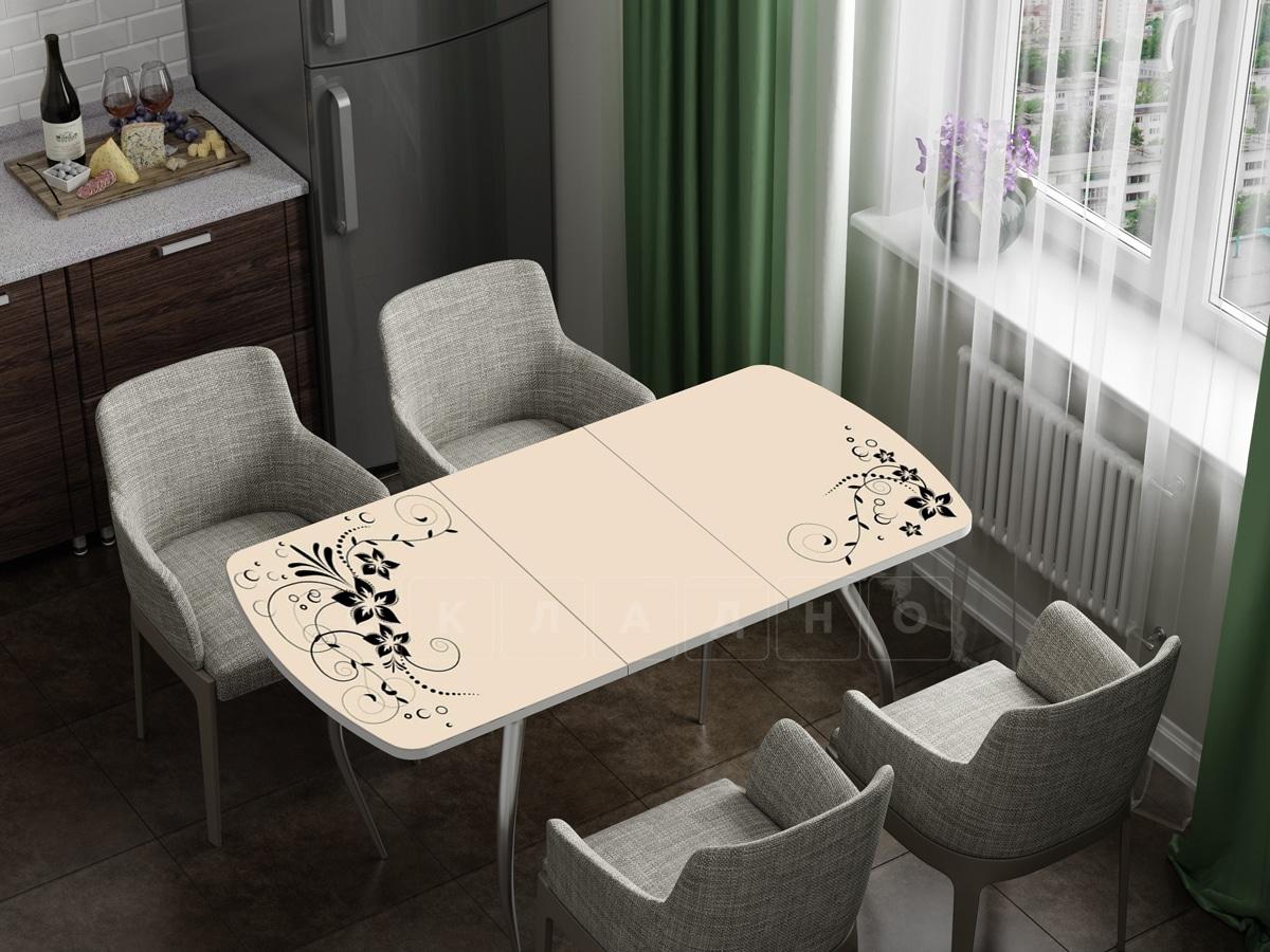 Стол раздвижной стеклянный с фотопечатью Индиго фото 1 | интернет-магазин Складно