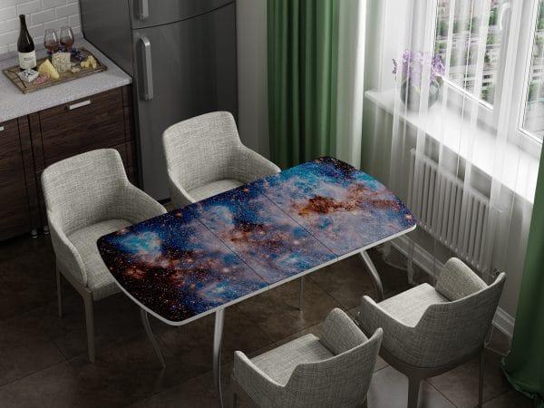 Стол раздвижной стеклянный с фотопечатью Космос фото | интернет-магазин Складно