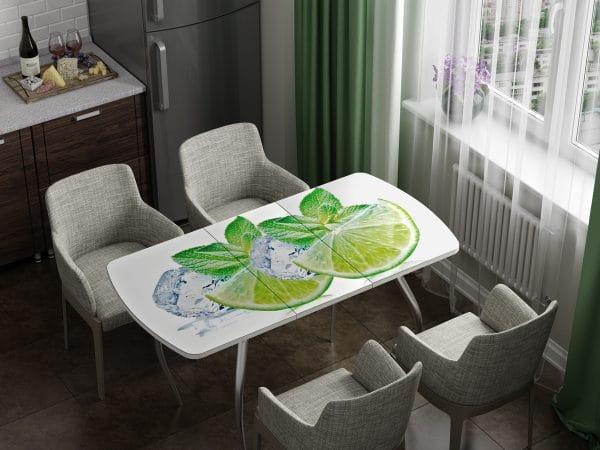 Стол раздвижной стеклянный с фотопечатью Лайм фото | интернет-магазин Складно