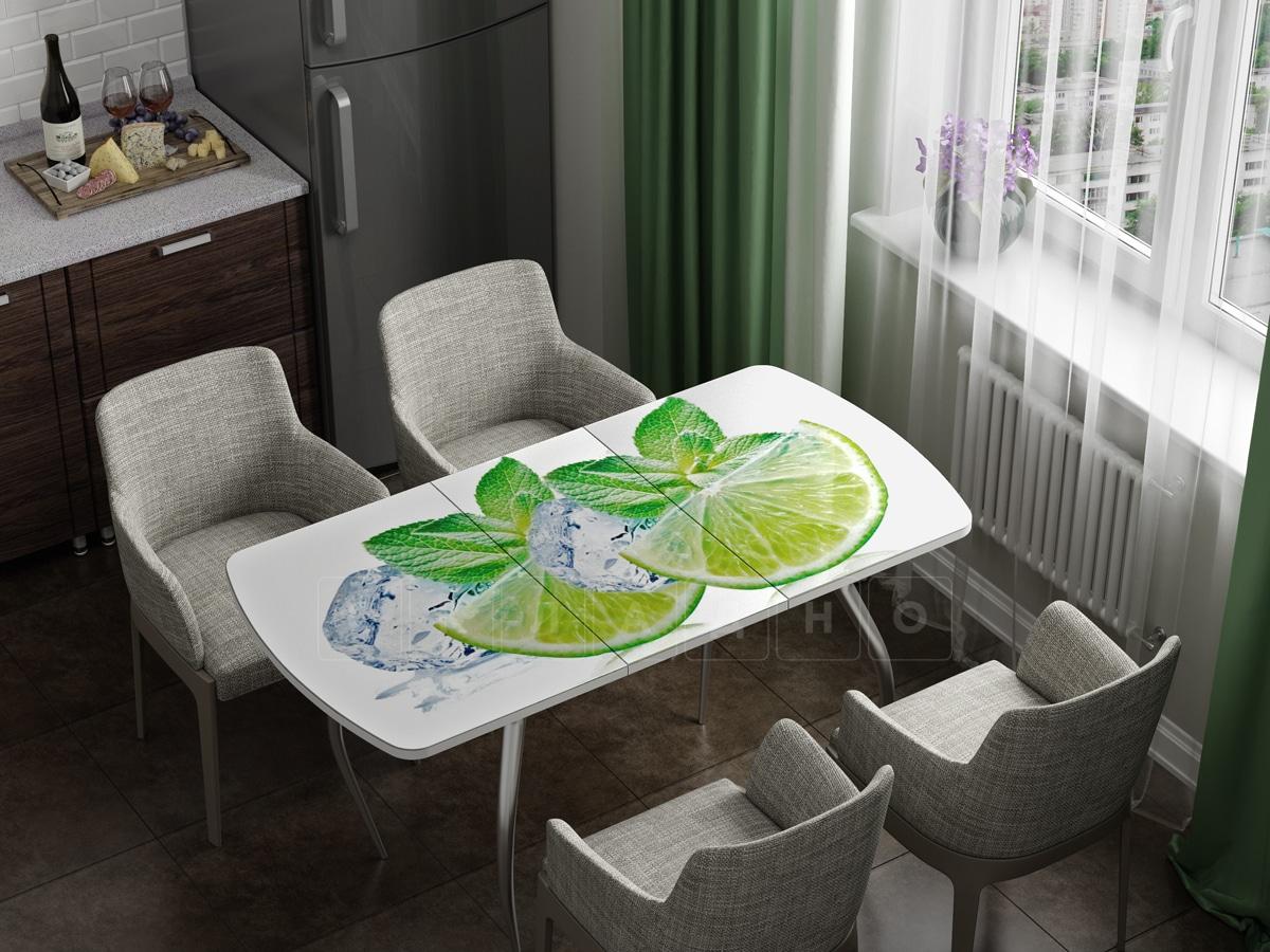 Стол раздвижной стеклянный с фотопечатью Лайм фото 1   интернет-магазин Складно