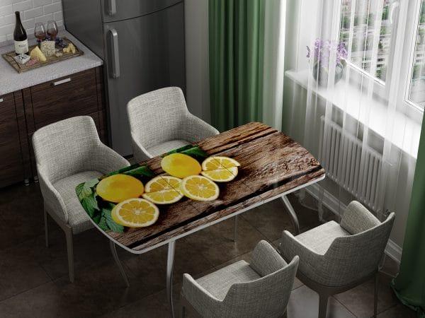 Стол раздвижной стеклянный с фотопечатью Лимон фото | интернет-магазин Складно