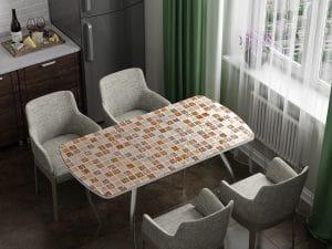 Стол раздвижной стеклянный с фотопечатью Мозайка-10969 фото | интернет-магазин Складно