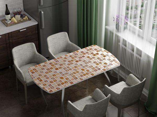 Стол раздвижной стеклянный с фотопечатью Мозайка фото | интернет-магазин Складно