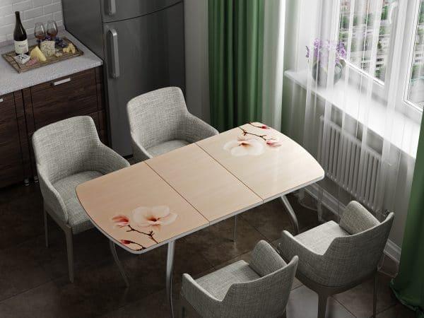 Стол раздвижной стеклянный с фотопечатью Нежность фото | интернет-магазин Складно