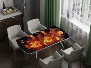 Стол раздвижной стеклянный с фотопечатью Огненный цветок-10971 фото | интернет-магазин Складно