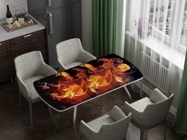 Стол раздвижной стеклянный с фотопечатью Огненный цветок фото | интернет-магазин Складно